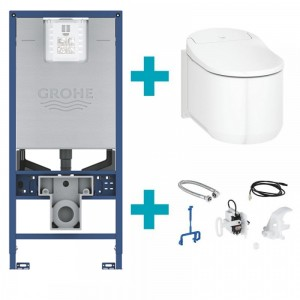Complete set: New Grohe Sensia Arena 2.0 + Automatic Flush Kit + Grohe Rapid SLX Cistern Frame