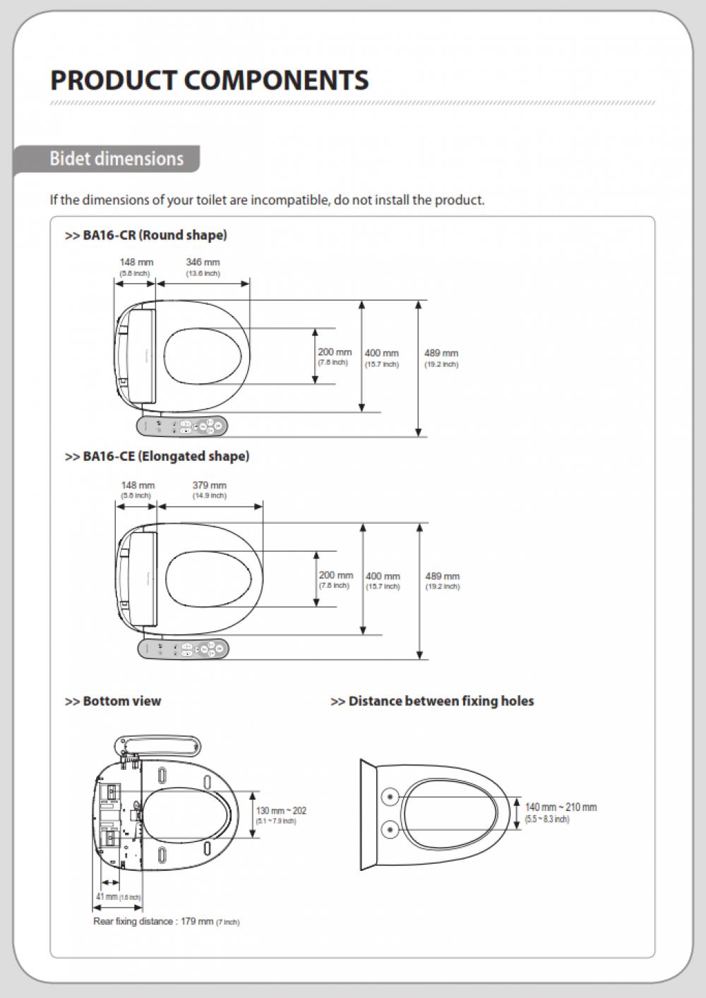 coway bas16-c dimensions coway bas16 measurments