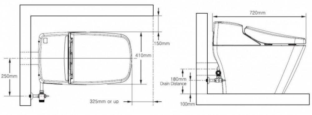 Vovo Princess PB 707S dimensions size toilet bidet