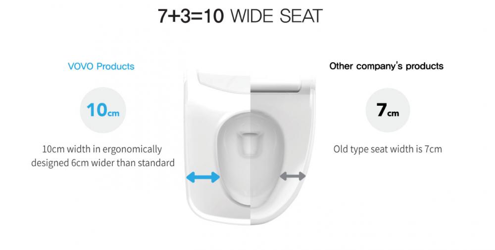 ergonomic wide seat comfort bide toilet integrated