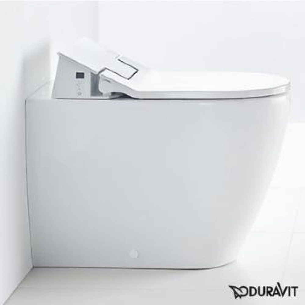 Duravit ME by Starck floor-standing, washdown toilet with SensoWash® Slim toilet seat, set