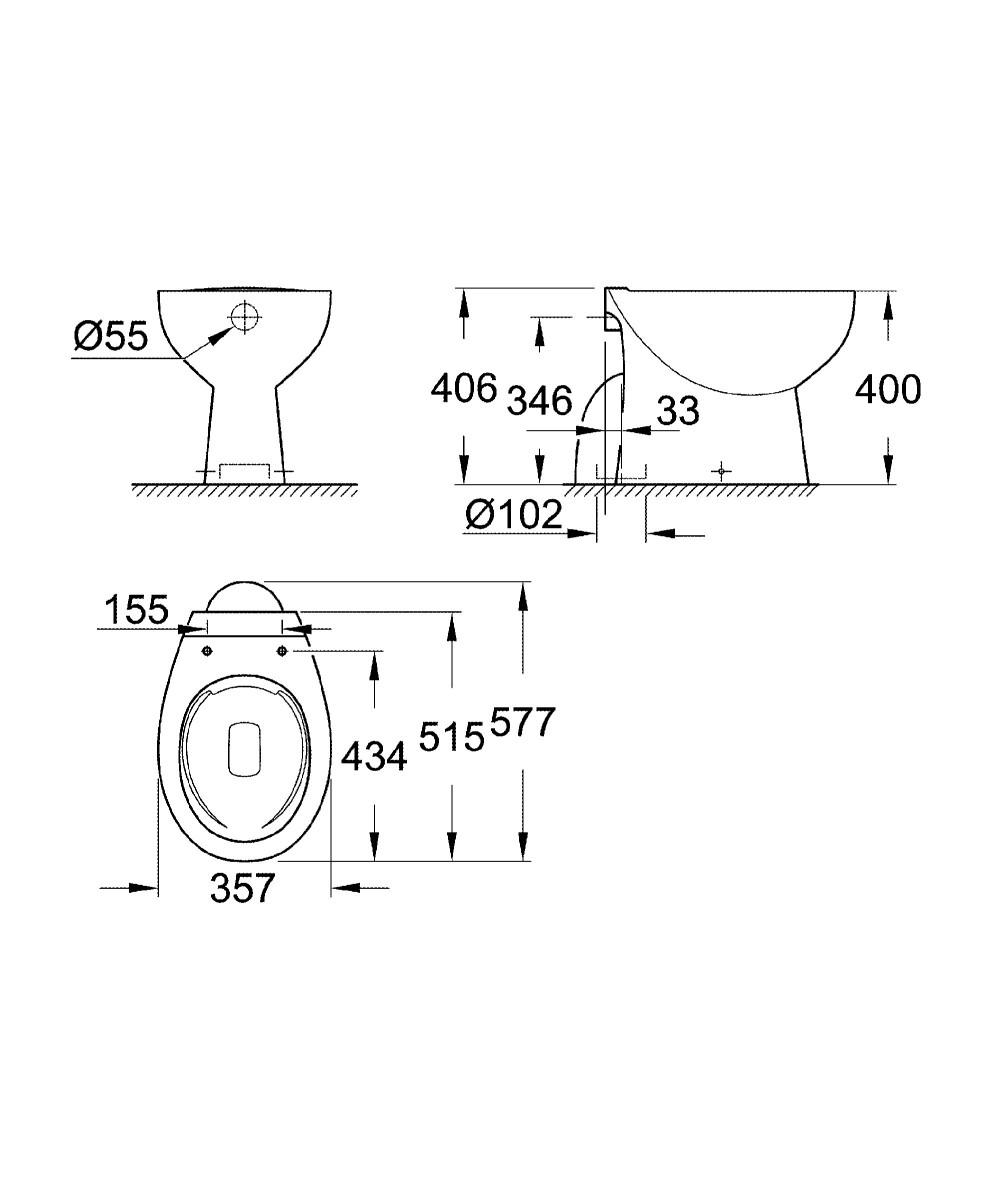 39431000 BAU CERAMIC FLOOR STANDING WC