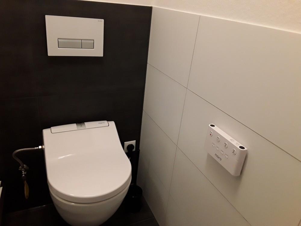 black bathroom washlet
