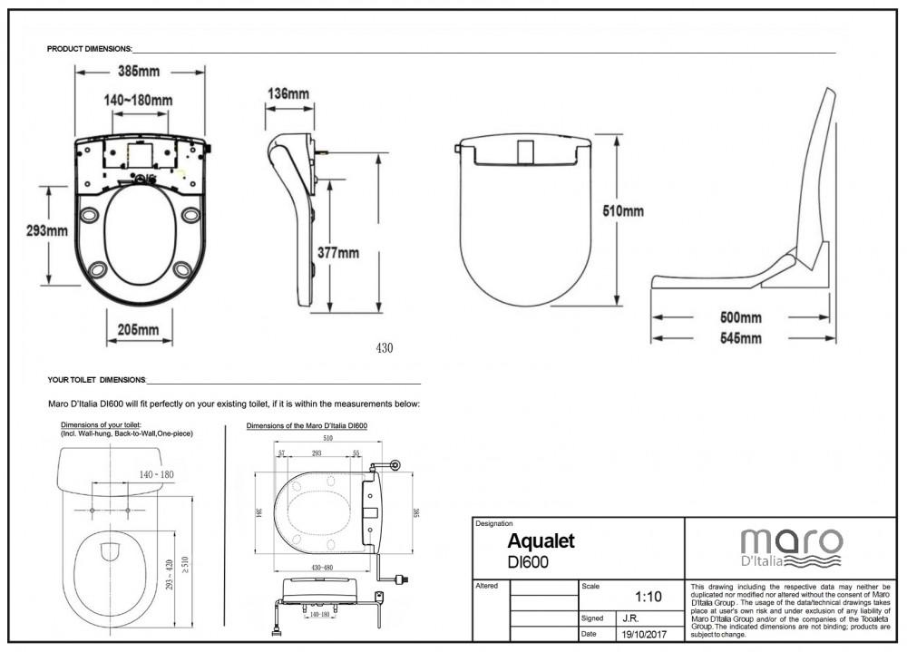 dimensions maro di600 washlet