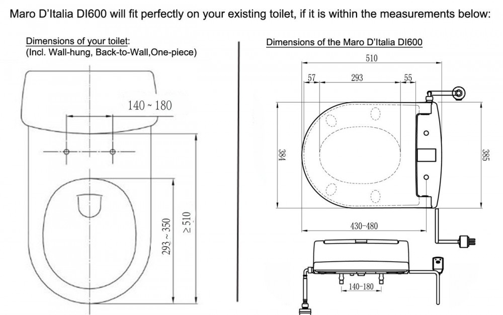 maro d'italai di500 heated toilet seat