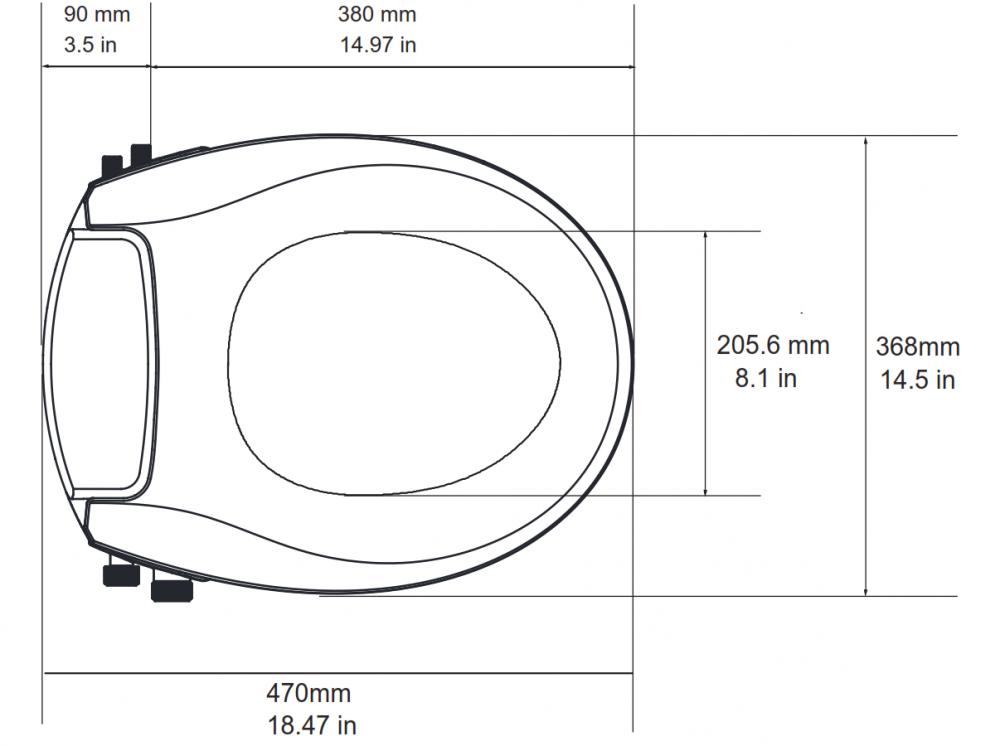 measurements dimensions manual bidet grohe