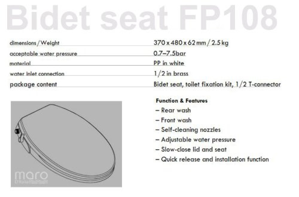Maro FP108 description bidet seat