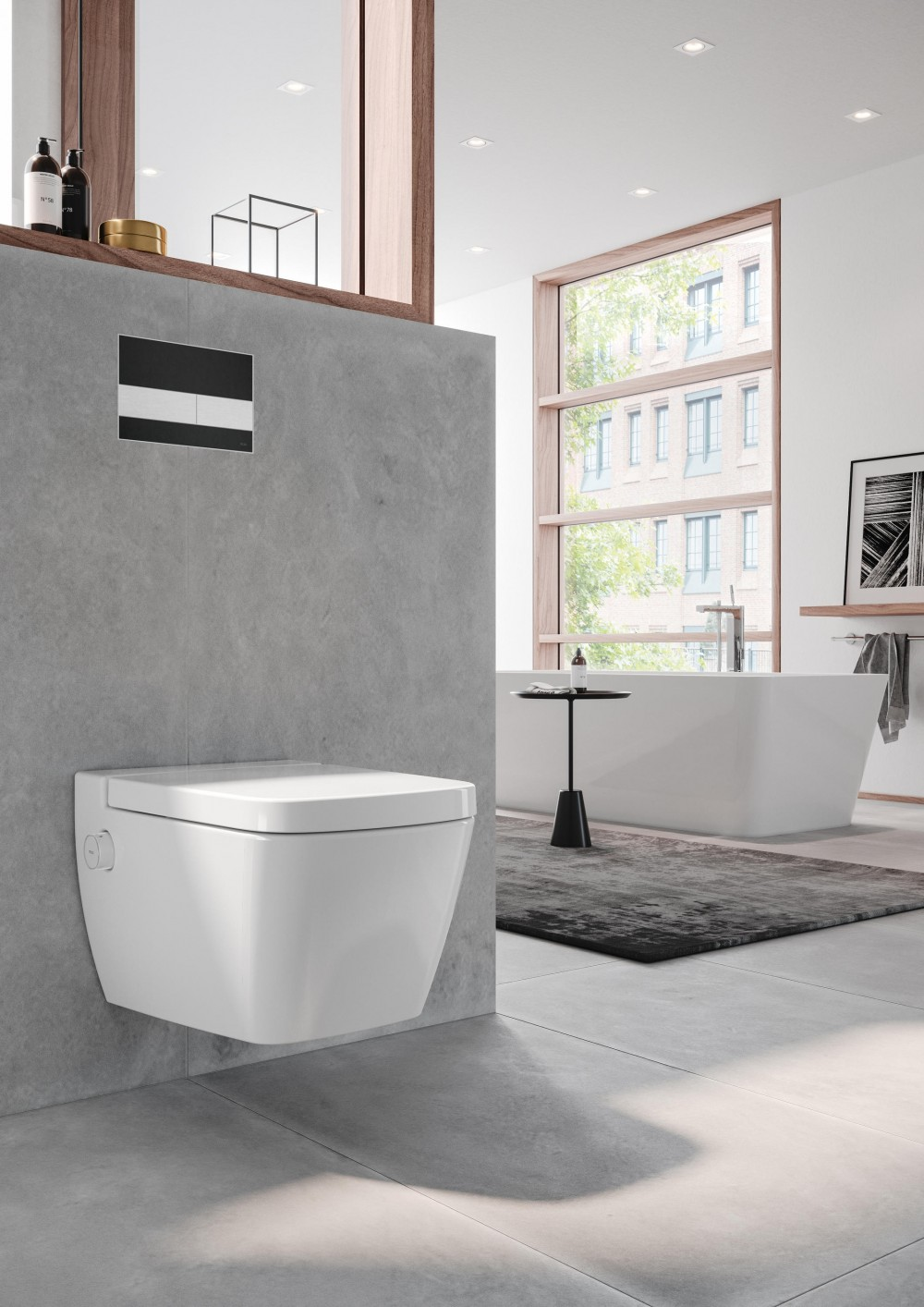 TECEone toilet ceramics with shower function 9700200 TECEone toilet seat with lid 9700600