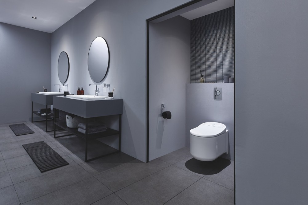 The GROHE Sensia Arena shower toilet ultimate comfort and cleaning with smart self-cleaning technology