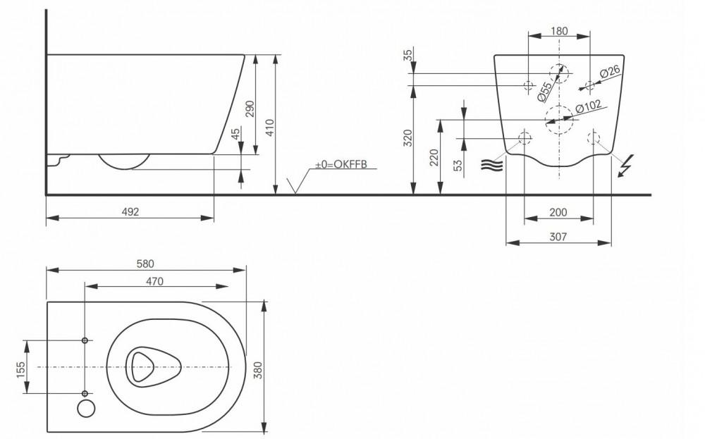 dimensions measurements toto rp cw542ey