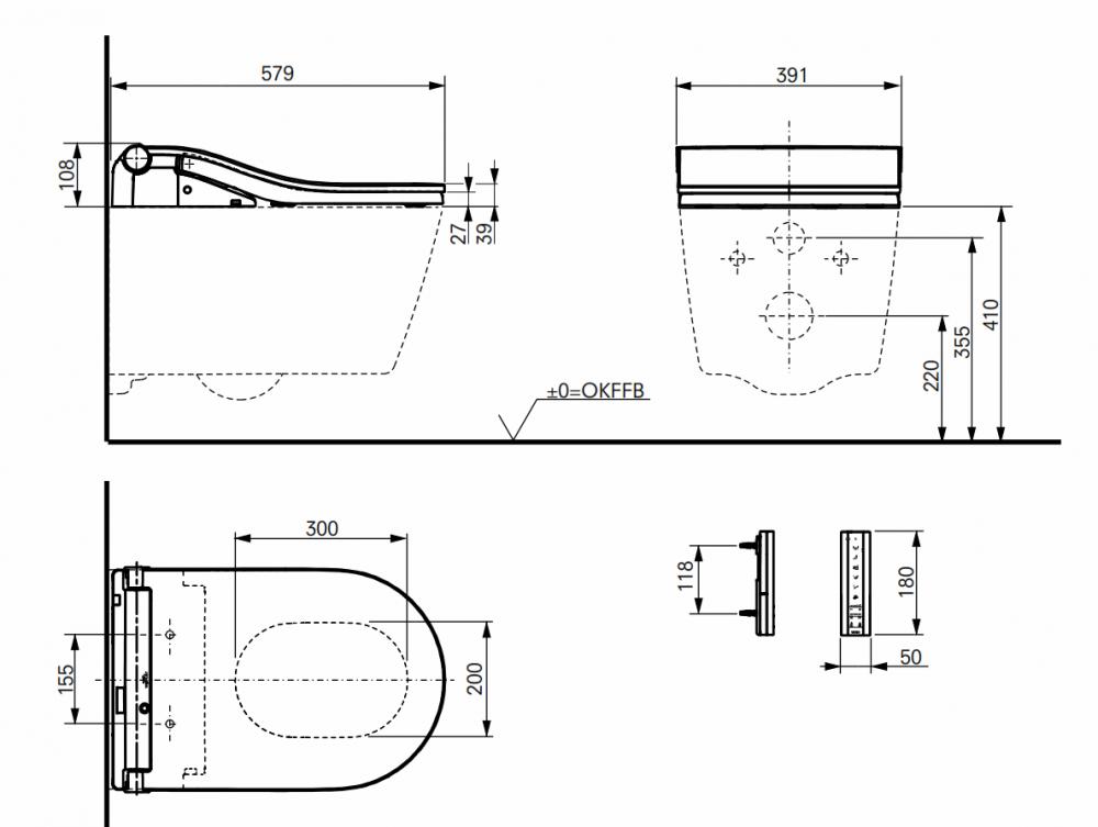 dimensions toto washlet rw