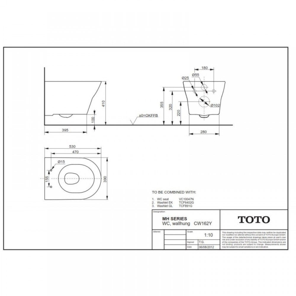 toto mh cw162y specifications datasheet dimensions size
