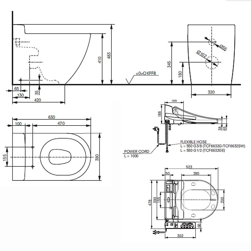 toto nc cw763y washlet ek measurements dimensions