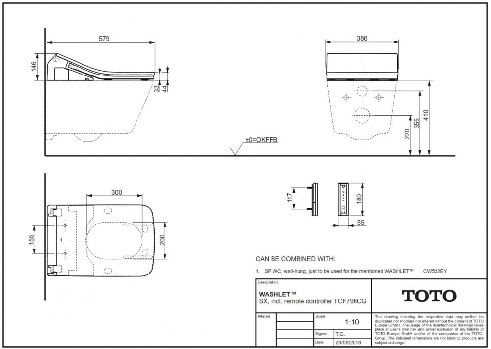 toto washlet SX specifications