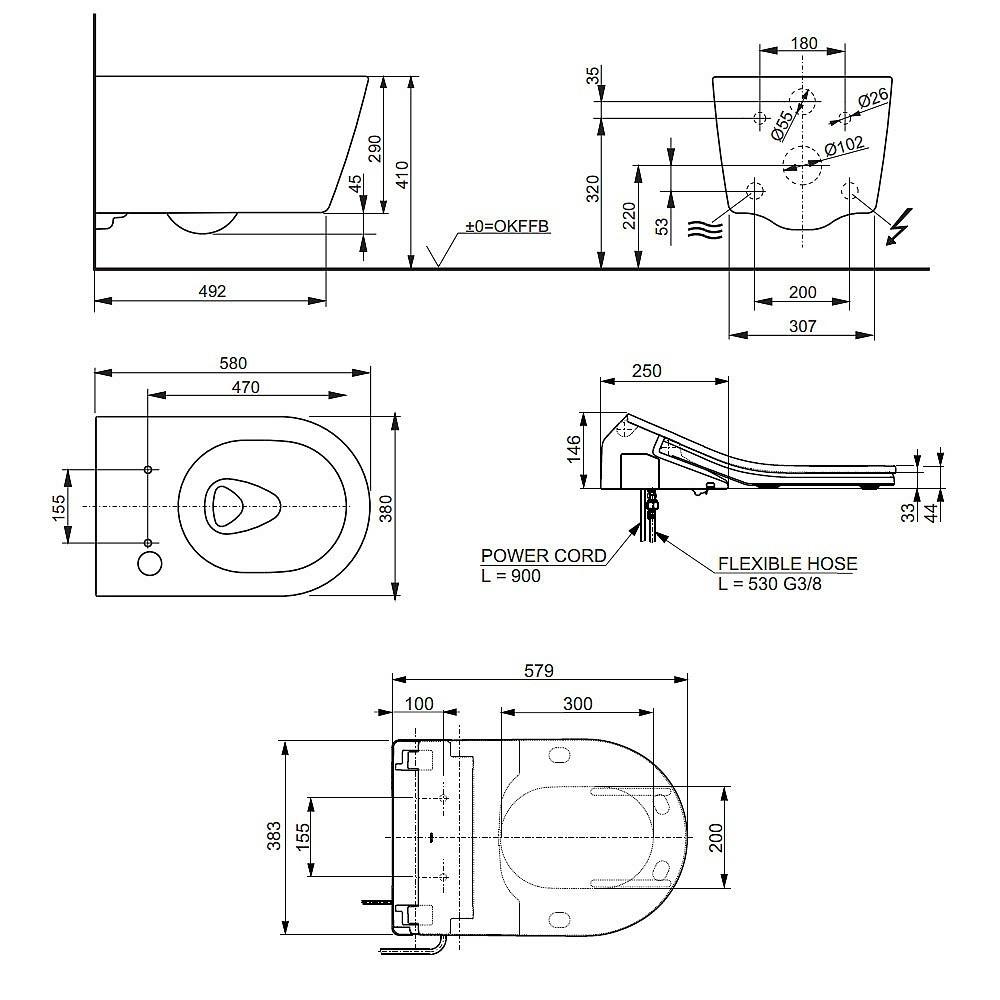 dimensions toto washlet rx