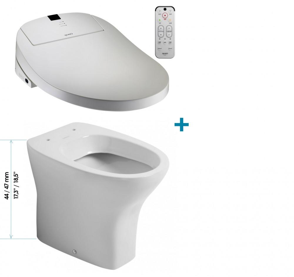 Enjoyable Coway Ba13 Be Washlet Sanitosco Comfort Height 18 5 47Cm 17 3 44Cm Floor Standing Toilet Machost Co Dining Chair Design Ideas Machostcouk