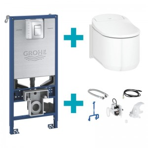 Complete set: Grohe the NEW Sensia Arena 2.0 shower toilet complete system for concealed cistern, wall-mounting white, with mounting accessories & installation set