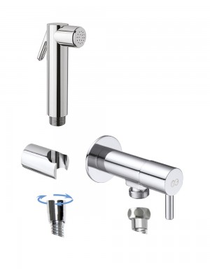 round angle valve with DOUBLE shut-off handshower set brass chrome plated