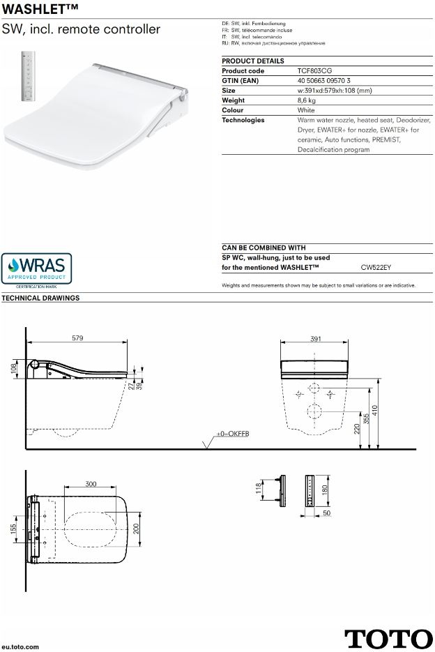 TOTO WASHLET SW TECHNICAL INFORMATION