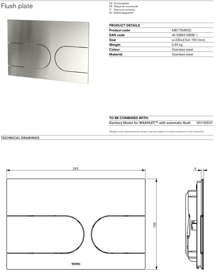 toto push flush plate technical specifications