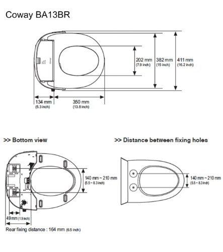 Coway ba13 BR round dimensions